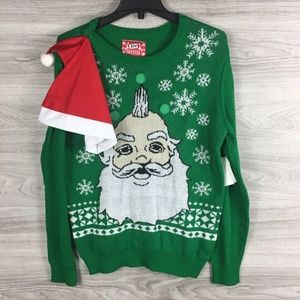 JEM Ugly Christmas Santa Claus Sweater W/ Hat